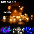Decoration Light for Christmas Party Wedding 60Leds LED Snow String Light 10M 220V 6Colors Changed Low Power Free Shipping