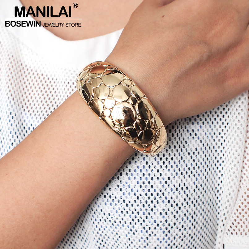 MANILAI Punk Rough Surface Alloy Big Bangles Trendy Golden Sillver Color Statement Cuff Bracelets For Women Jewelry Accessories