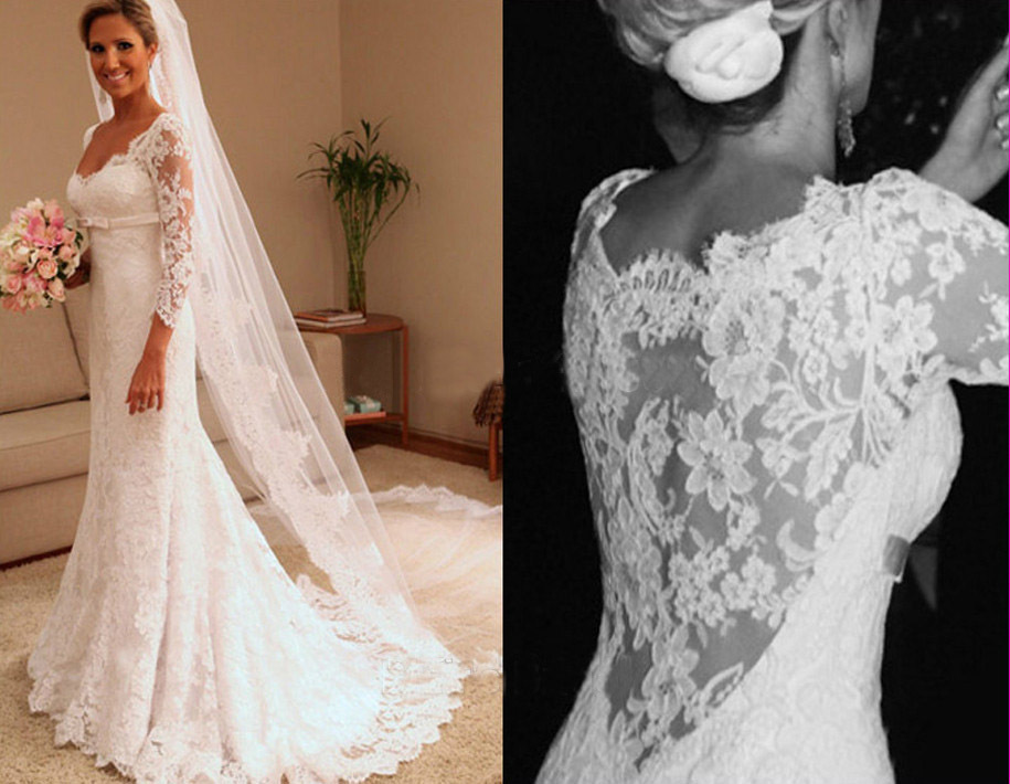 Long Sleeve Lace Wedding Dresses Price Vintage Sheath Floor Length Sweetheart Fashionable Bridal Gown Beat In From
