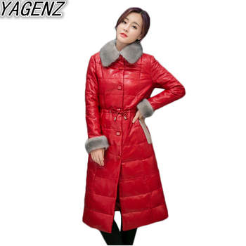 2020 Winter New Faux PU Leather Coat Womens Warm Big fur collar Down Coat Women Long White Duck Down Cotton Jacket Overcoat