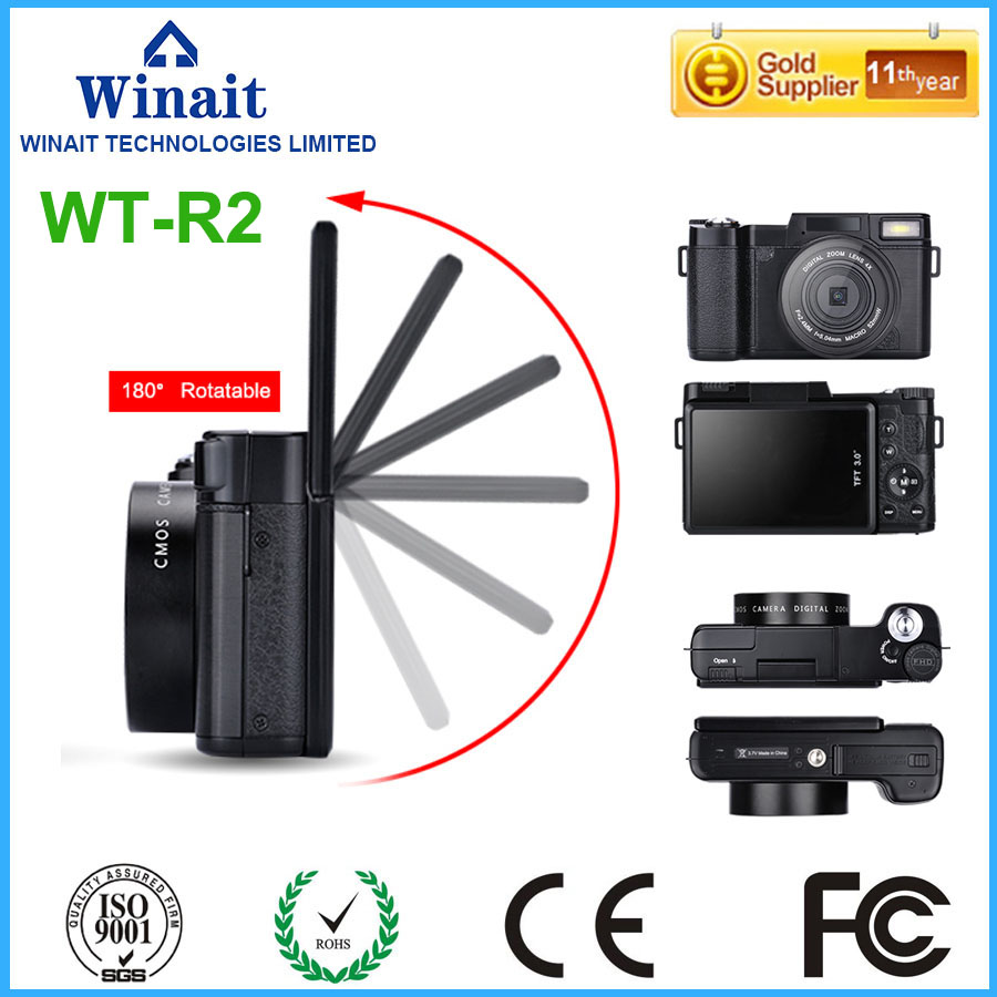 Winait WT-R2 DSLR Camera 24MP Shooting 8.0MP CMOS Professional Digital Camera 3.0 LCD Display FHD 1080P Digital Video Recorder image