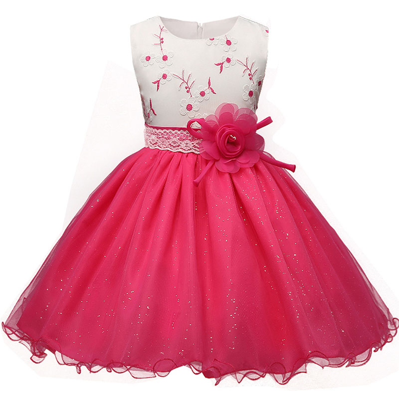 2017 Formal Flowers Princess Costumes Toddler Party Dress Children 4-10 years Baby Girl Dresses Kids embroidery vestidos mujer