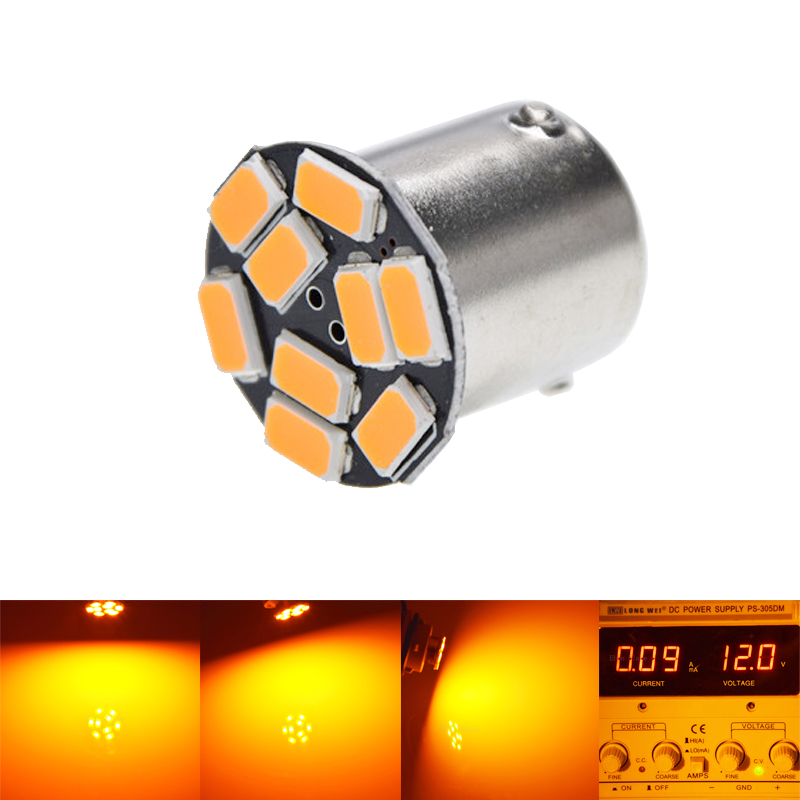 1156 BAU15S 9SMD Amber Yellow LED Lamp py21w LED Car Bulbs Turn Signal External Lights Car Light Source Parking 12V 4 led 12v vehicle signal lights 2 pack yellow