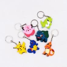 4-7cm Charmander Keychain Monsters Key Holder Go Key Ring Pendant 3D Mini Pikachu Squirtle Bulbasaur Sandshren Figure Toys стоимость