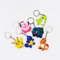 4-7cm Charmander porte-clés monstres porte-clés Go porte-clés pendentif 3D Mini Pikachu écureuil Bulbasaur Sandshren Figure jouets