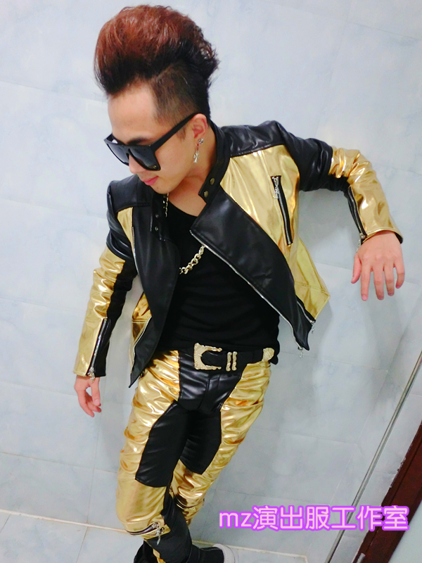 Hot Men Stage Jacket Costumes Style Black Gold Stitching Motorcycle Leather Jackets Mens Performances pants S 5XL
