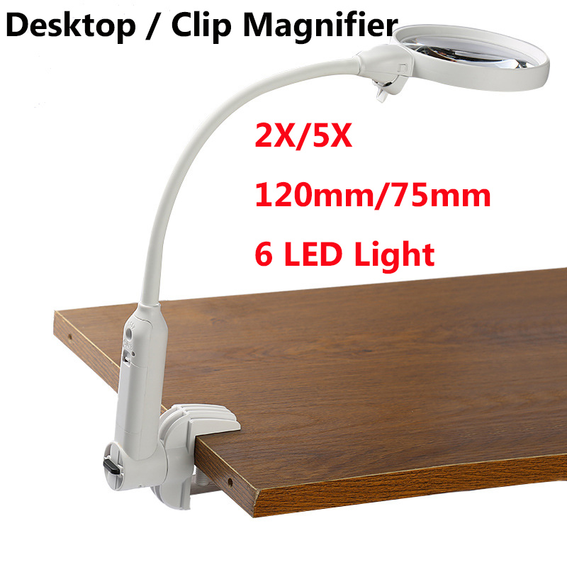 2018 New Desktop Clip Fixed Multifunction 120mm/75mm 2X/5X Lens With 6 LED Reading Illumination Magnifier цены