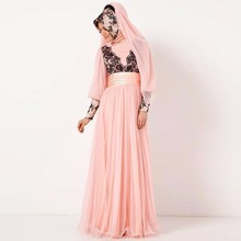 2015 Pink Appliques Long Sleeves Dubai Muslim Kaftan Abayas Arabic Evening Robe Islamic Dresses For Woman Hijab Evening Dresses