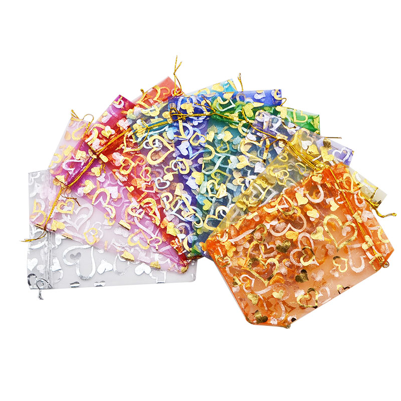 50pc 15x20cm flower mix chinese Christmas Jewlery packing Wedding voile gift bag