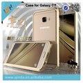 Luphie diseño 3d estereoscópica marco de metal con cuero película de nuevo caso para samsung galaxy c7 c7000 envío libre + protector de pantalla