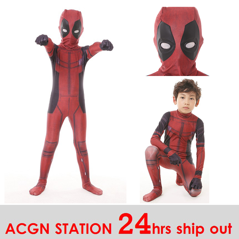 free shipping kid deadpool costume with mask superhero cosplay suit