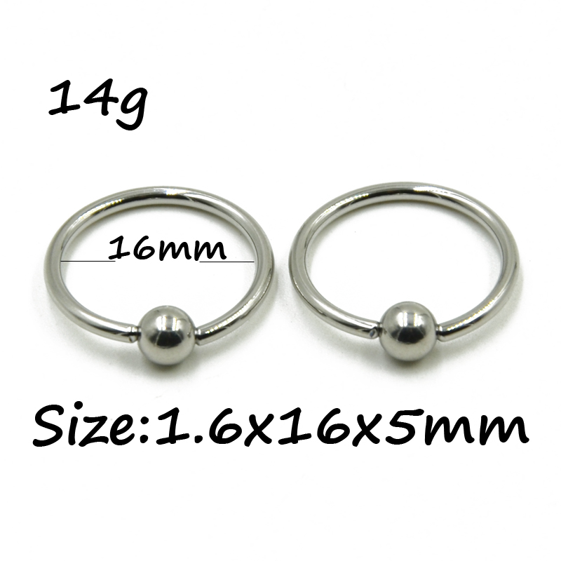 10 Pieces Extra Large Size Surgical Steel Captive Bead Ring Septum