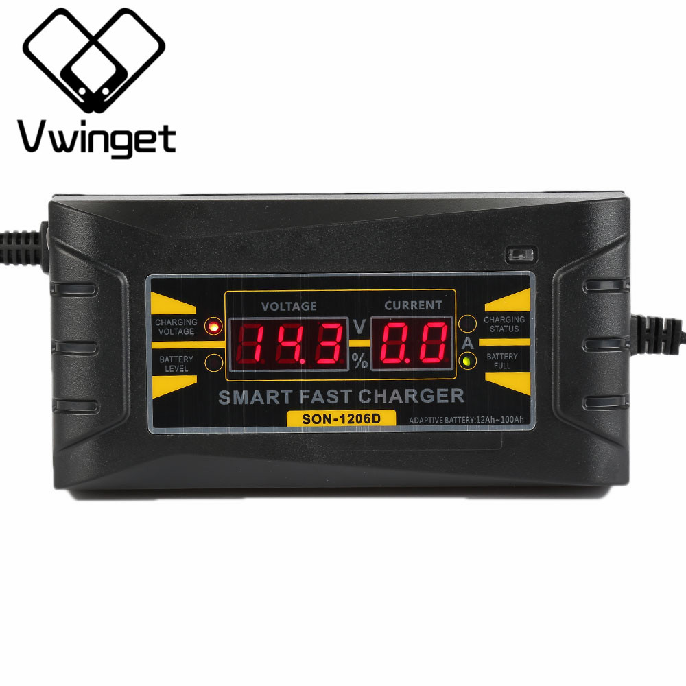 12V 6A Car Battery Charger 110V-240V LED Intelligent Display Electric Car Battery Charger US Plug Carregador de bateria
