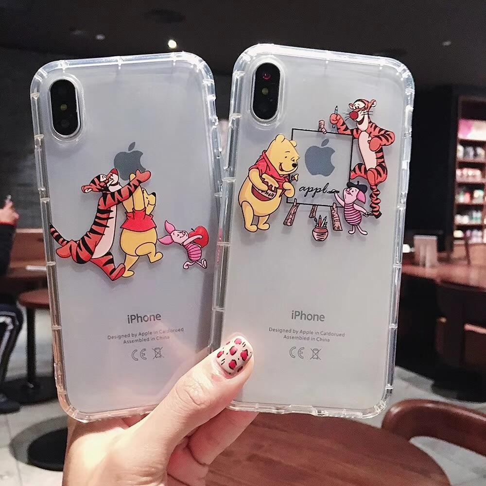 Cartoon classic anime fashion phone case For iPhone Xs Max Xr X 8 7 6 6s Plus Coque Winnie Pooh Tigger Soft clear TPU back cover winnie the pooh iphone case