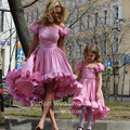 2016 Kids Prom Dress Mother Daughter Wedding Gowns High Low A Line Ruffles Lilac Color Puffy Flower Girl Dress