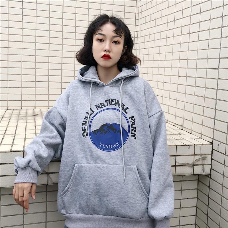 4ba6b1b0ec364 2019 Hoodies Women Hooded Thicker Plus Velvet Oversize Printed ...