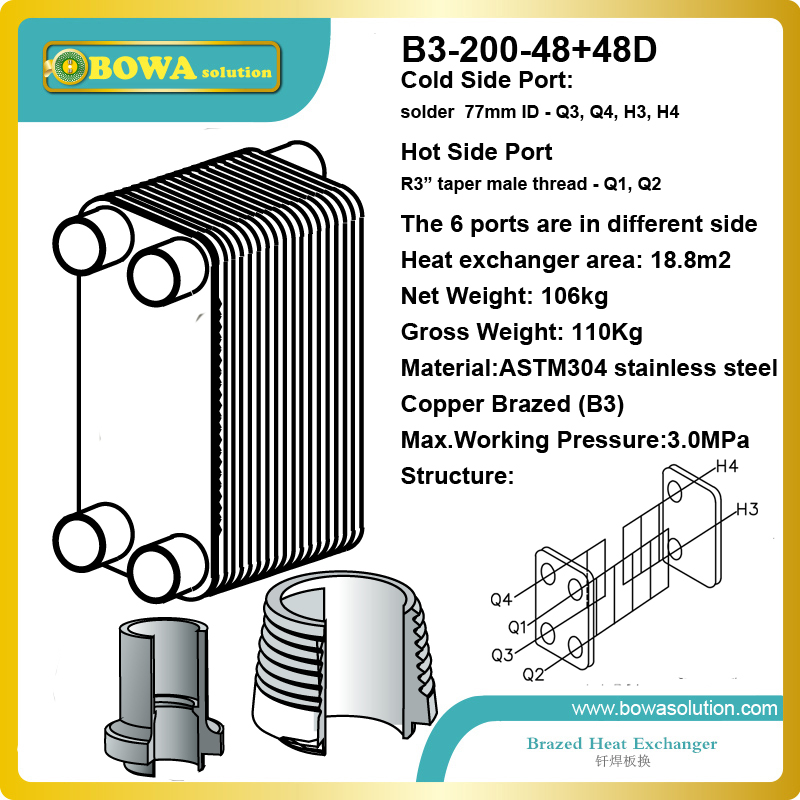 50RT (R22 to water) B3-200-48+48D SUS304 stainless steel heat exchanger for cold and hot intergrated temperature b3 026b 26d copper brazed stainless steel big hole type plate heat exchanger for heating equipment and water chiller 7kw r22