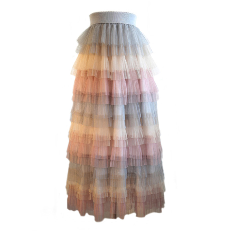 SETWIGG Spring Summer Fairy Layered Gauze Long Skirts Elastic Waist Candy Multi-color Tiered Mesh Tulle Mid-Calf Long Skirts
