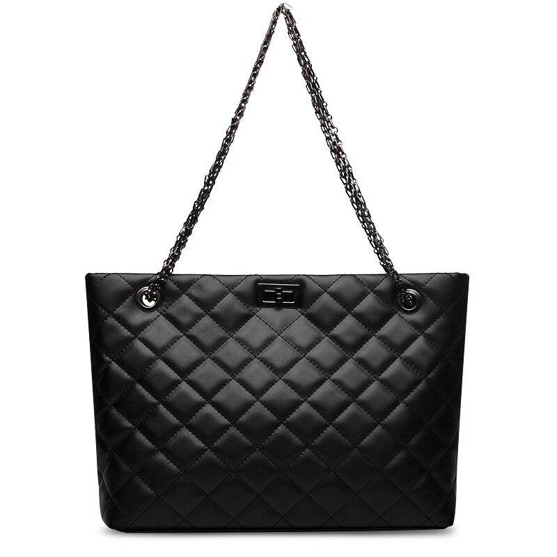 Bagaj ve Çantalar'ten Üstten Saplı Çanta'de Lüks çanta kadın çanta tasarımcısı Hakiki Deri siyah La borsetta Inek Derisi Bayanlar zincir Hasp alışveriş çantası Kapasiteli Tote Bols'da  Grup 2