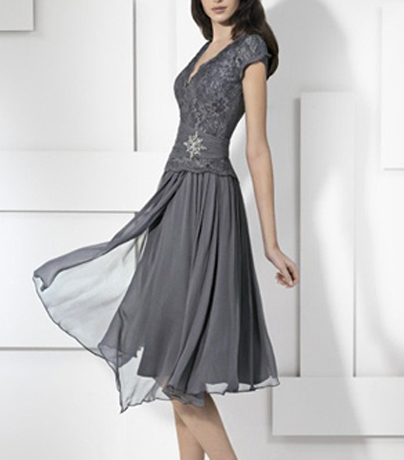 Elegant Knee Length Chiffon Lace Mother Of The Bride Dress