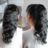 EseeWigs Human Clip Ins Ponytail For Women Natural Black Body Wave Clip in Human Hair Extensions Mongolian Remy Hair Double Weft