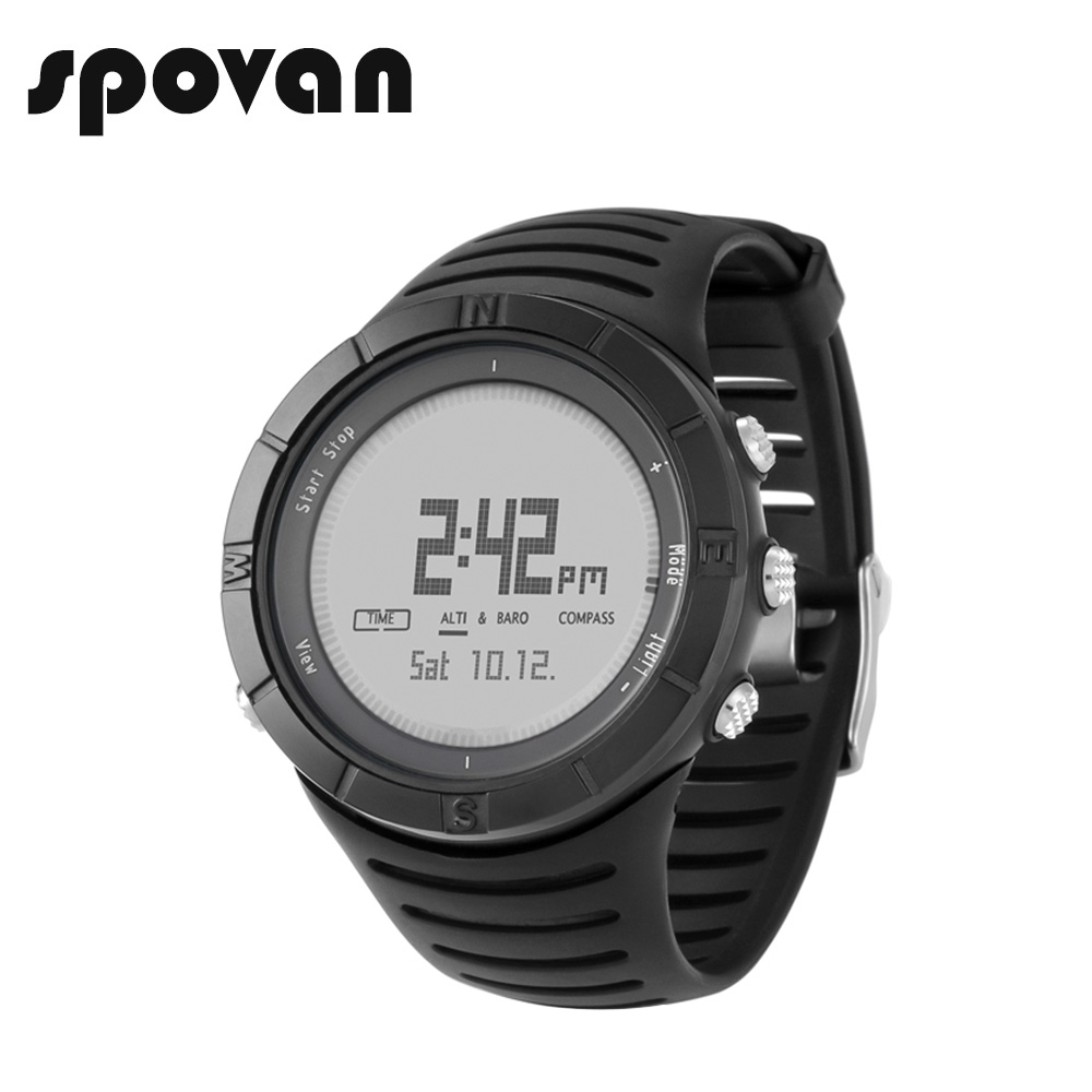 SPOVAN Sport Watch for Men, Digital Sports Watches, 100m Waterproof Outdoor Compass/Altimeter/LED Backlight SPV806a new outdoor spovan 806 sports watches altimeter digital men s fashion wristwatch climbing watches compass barometer chronograph