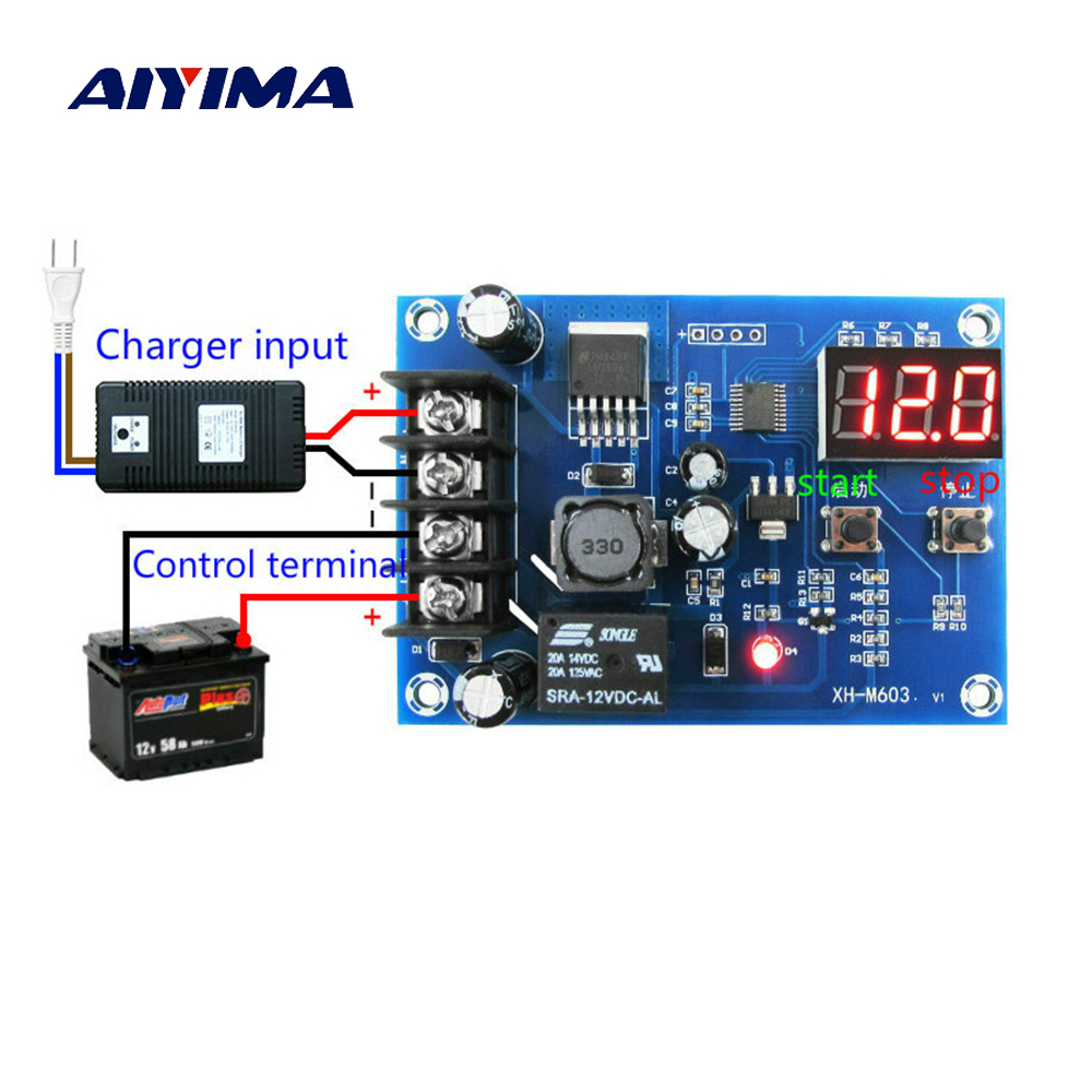 Aiyima CNC Battery Lithium Batteries Charge Controlled Module Battery Charging Control Protection Switch 12-24V
