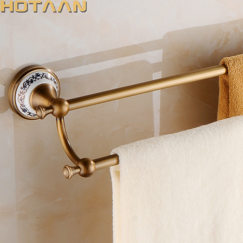 60cm Double Towel Bar With Ceramic Antique Bronze Finish/Towel Holder,Towel Rack,Bathroom Accessories Free Shipping 11598 free shipping ti pvd double towel bar flowers