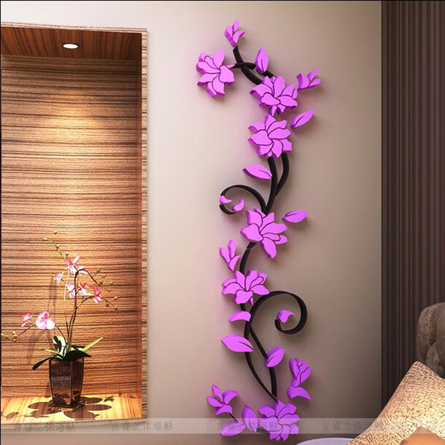 wall stickers living room colors brown leather furniture fashion pvc flower mirror home art diy sticker decal decor wallpaper adesivo de parede purple pink