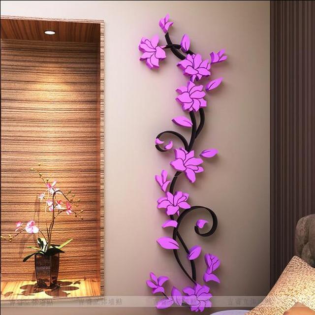 Fashion PVC Flower Mirror Home Art DIY Wall Sticker Living Room Decal Decor  Wallpaper Adesivo De Part 58