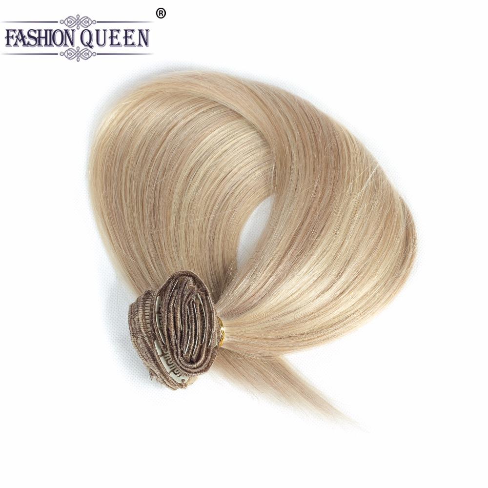 Ash Blonde/Bleach Blonde Clip In Human Hair Extensions Straight Full Head 12pcs/set, weighs 95g with 20 clips, 0.8g per clip
