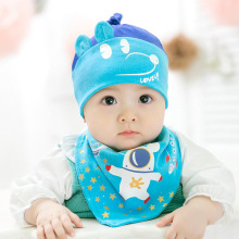 Cartoon Eslatic Headscarf Double Layer Cotton Baby Caps&hats with Bibs Set Pink Yellow and Sky Blue for Confident Infant