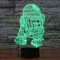 7 Ambiente de Vacaciones de color Decorativo regalo de Los Cabritos Star Wars R2D2 Robot 3D Ilusion Gadget de Iluminación de Luz de La Lámpara Noche de Luz LED