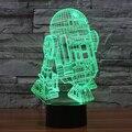 7 cores Do Feriado Atmosfera Decorativa Caçoa o presente Star Wars R2D2 Robô 3D Ilusion Gadget de Iluminação Da Lâmpada de Luz Luz CONDUZIDA Da Noite
