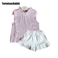 Summer Girls Tops Chiffon Clothes Sets Stand Neck Bow Tanks Kids Beach Lace Tees Party T-Shirts+White Shorts Toddler Baby Suits