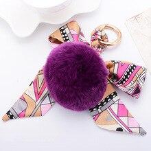 Fashion Creative Silk Scarf Bow Rabbit Fur Ball Keychains Fluffy Pom Pom Keychain for Women Car Bag Charm Pendant Keychain Gift