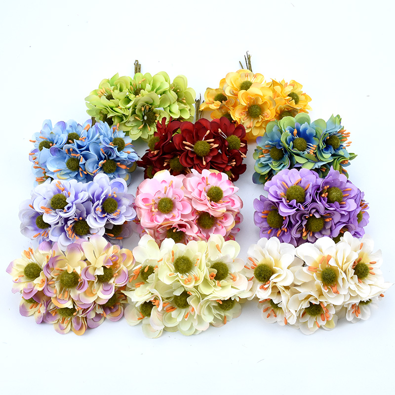 6pcs Christmas decorations for home wedding silk Cherry scrapbooking diy gifts box decorative flowers wreaths artificial flowers