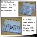 1000set/lot by DHL White EU Plug Wall Power Charger Adapter + USB Charging Cable For Apple Iphone 3 4 /5 6 7  IOS 8 9 10