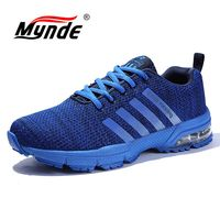MYNDE Men's Sport Running Shoes Music Rhythm Men's Sneakers Breathable Mesh Outdoor athletic Shoe Iight Male Shoe Big Size 39 46