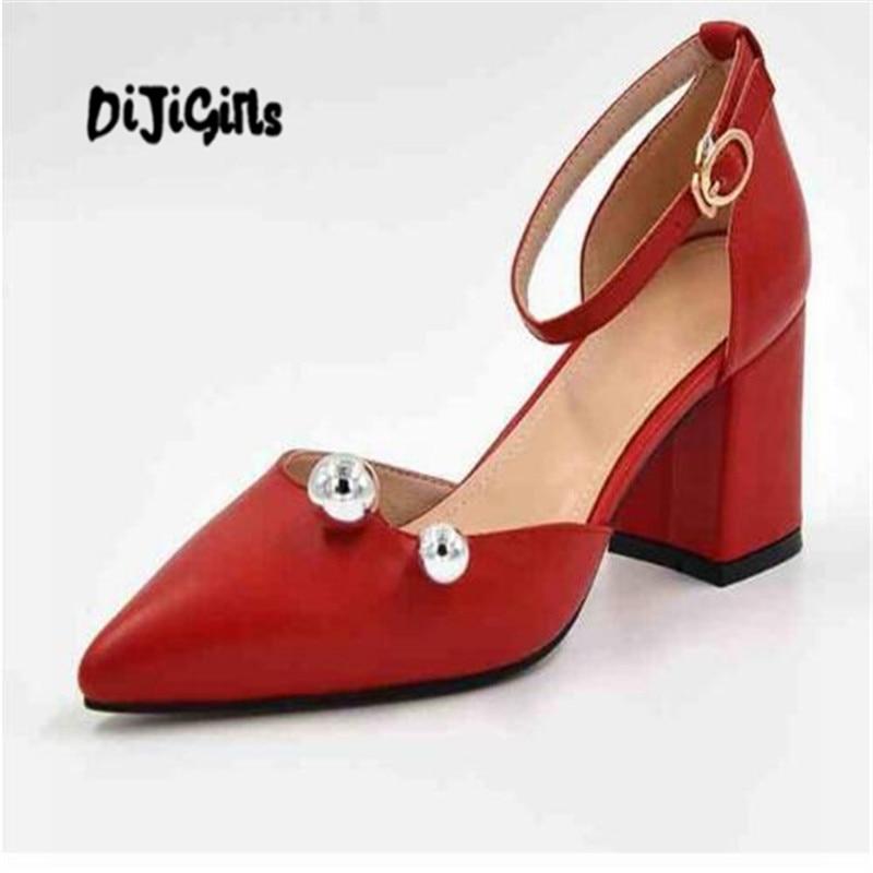 Mode Femmes Pompes Beige Moutons Haute D'été Dijigirls rouge Bout Pointu Attaches Talons Vache De Boucle Métal Cuir Chaussures noir En Mariage Épais xwUqCqH