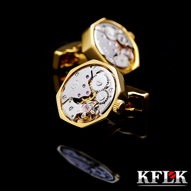 KFLK Jewelry Shirt Cufflink For Mens Brand Cuff Button Gold-color Watch Movement Cuff Link High Quality Abotoadura Free Shipping