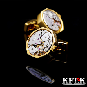 Image 1 - KFLK jewelry shirt cufflink for mens Brand cuff button Gold color watch movement cuff link High Quality abotoadura guests