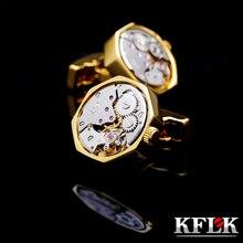 Kflk ジュエリーシャツカフスボタンメンズブランドカフスボタンゴールド色のための時計のムーブメントカフリンク高品質 abotoadura ゲスト