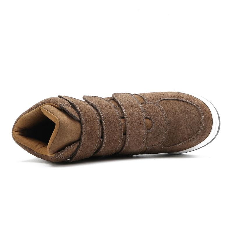 Genuino Deportivas Mujer Deporte Las Plataforma Arriba Zapatos Tobillo Zapatillas Casuales Botas Alta Cuñas De Cuero Brown Aumento Altura Mujeres qv7IvrwZ