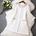 Primavera em torno do pescoço das mulheres novas da Moda tridimensional flores disco beading bordado casaco de malha outwear G184