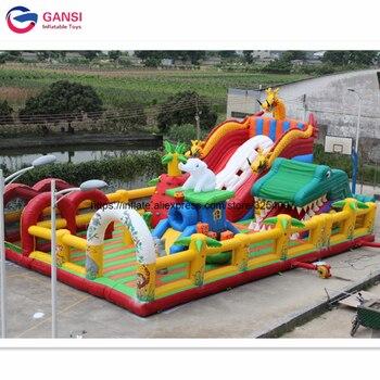 Campo de juegos al aire libre, campo de juegos inflable con obstáculos, 20*15 metros, ciudad hinchable gigante para niños