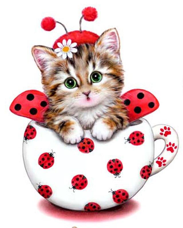 Diamant-Stickerei-Dekor 3DIY tierische rote Katze volle 100% Bereich - Kunst, Handwerk und Nähen - Foto 1