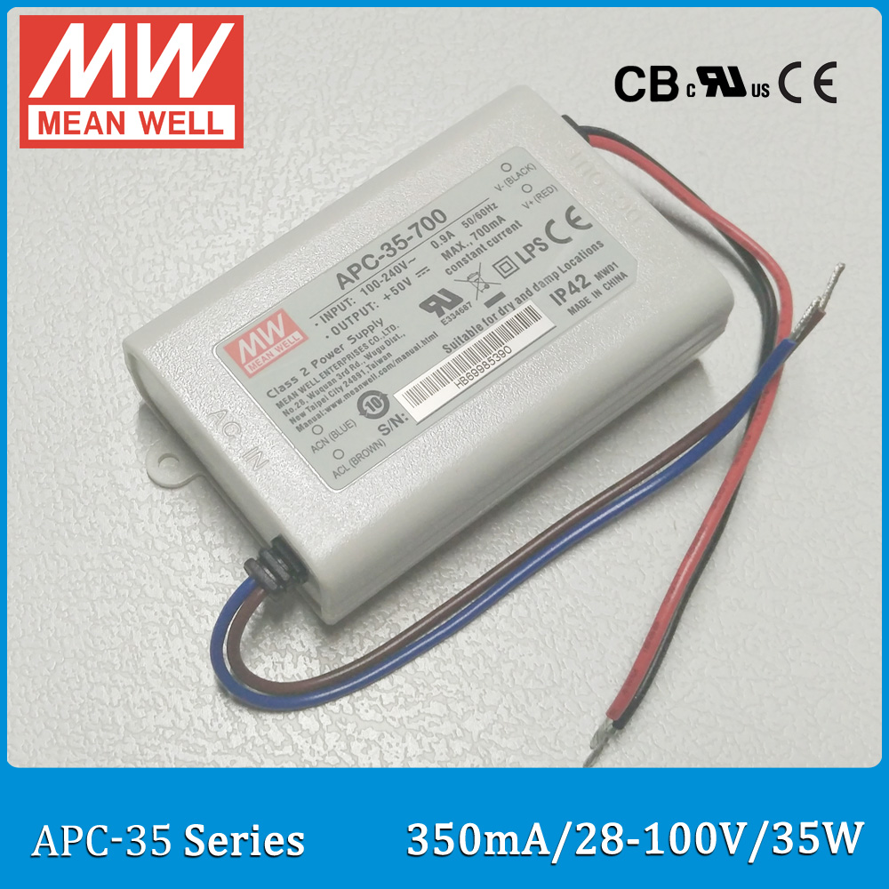 Original Meanwell LED driver APC-35-350 single output 35W 28~100V 350mA Mean well LED power supply APC-35 IP42 original meanwell led driver apc 16 700 16 8w 9 24v 700ma led power supply constant current mean well apc 16 ip42