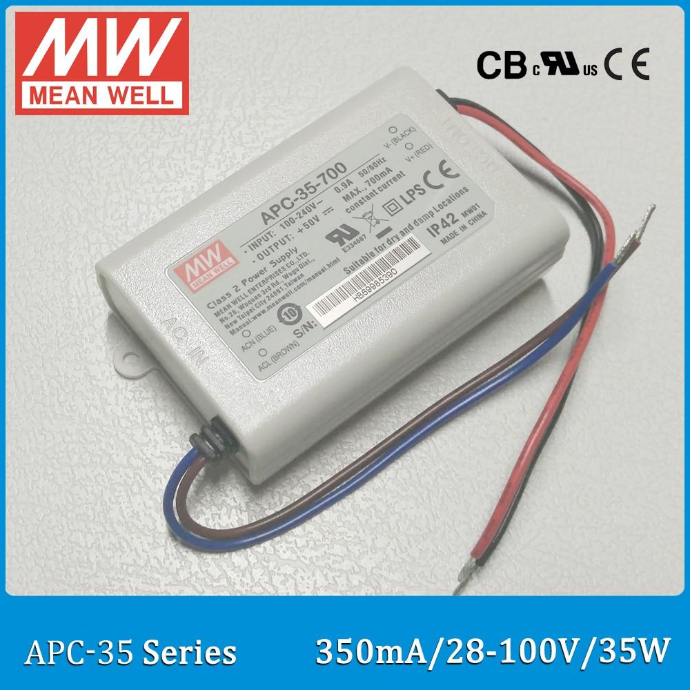 все цены на Original Meanwell LED driver APC-35-350 single output 35W 28~100V 350mA Mean well LED power supply APC-35 IP42 онлайн