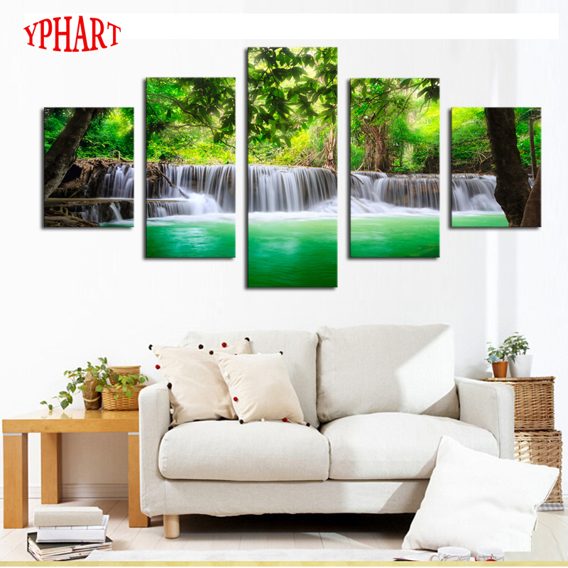 Buy unframed 5 panels green waterfall for Where to buy canvas art
